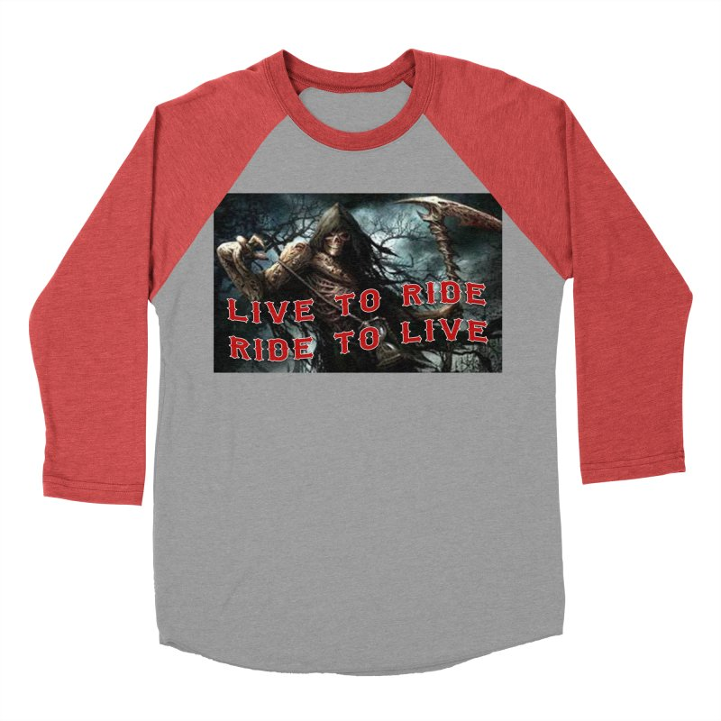 Live to Ride Reaper Men's Baseball Triblend Longsleeve T-Shirt by Vegans Choice Motorcycle Club