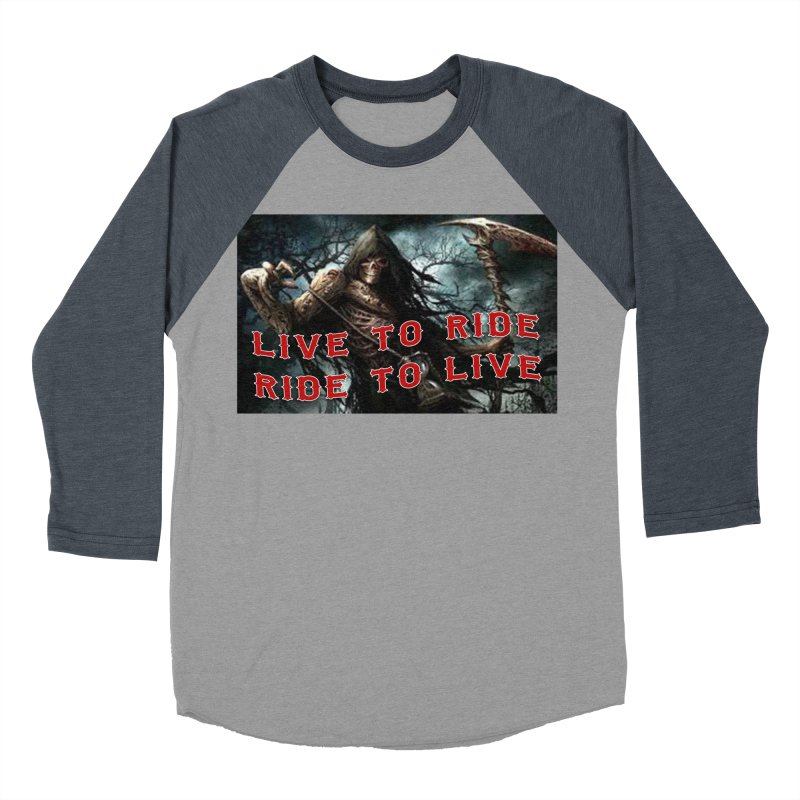 Live to Ride Reaper Men's Baseball Triblend Longsleeve T-Shirt by Vegans Choice Motorcycle Club