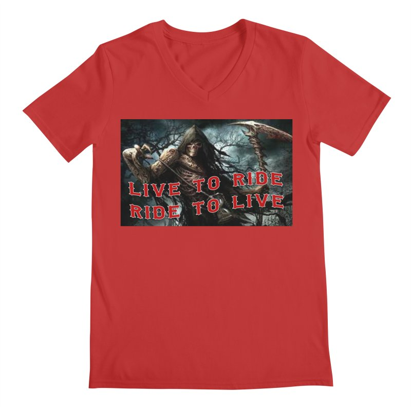 Live to Ride Reaper Men's Regular V-Neck by Vegans Choice Motorcycle Club