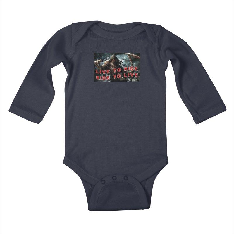 Live to Ride Reaper Kids Baby Longsleeve Bodysuit by Vegans Choice Motorcycle Club