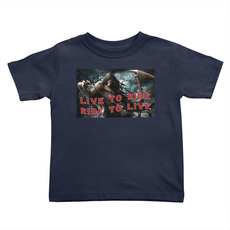 Live to Ride Reaper Kids Toddler T-Shirt by Vegans Choice Motorcycle Club