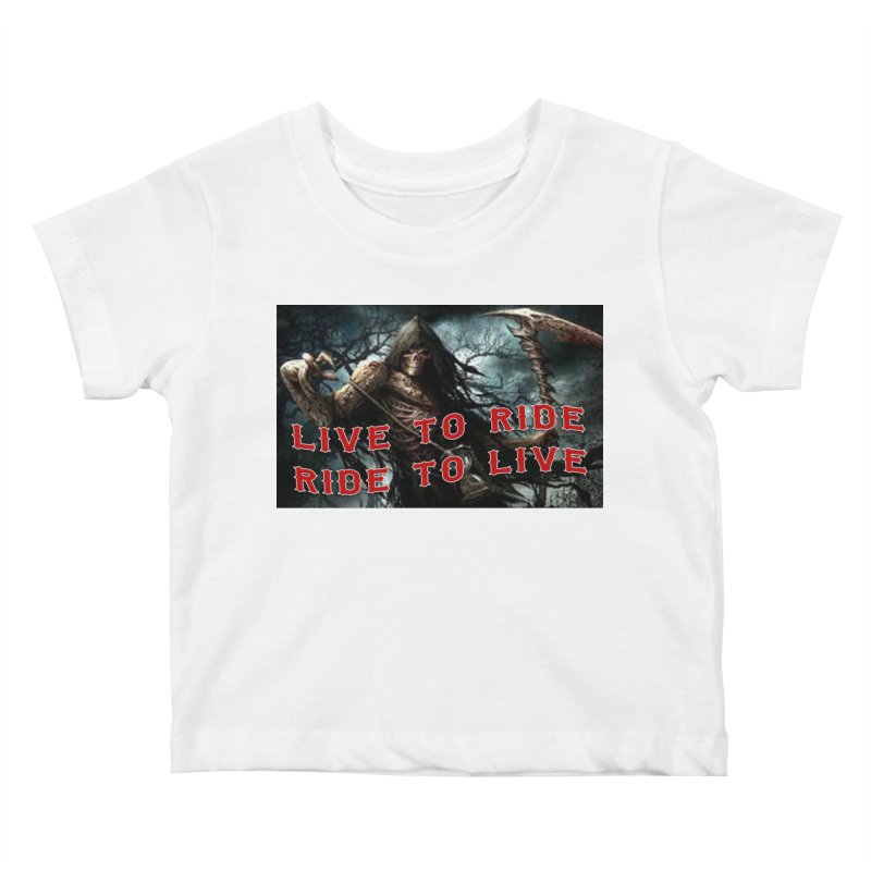 Live to Ride Reaper Kids Baby T-Shirt by Vegans Choice Motorcycle Club