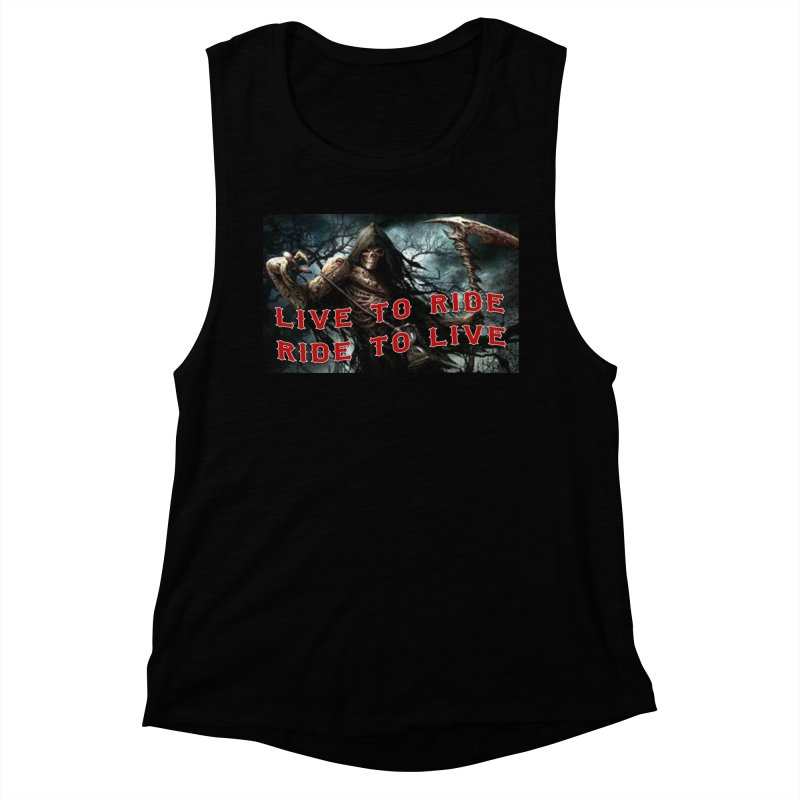 Live to Ride Reaper Women's Muscle Tank by Vegans Choice Motorcycle Club