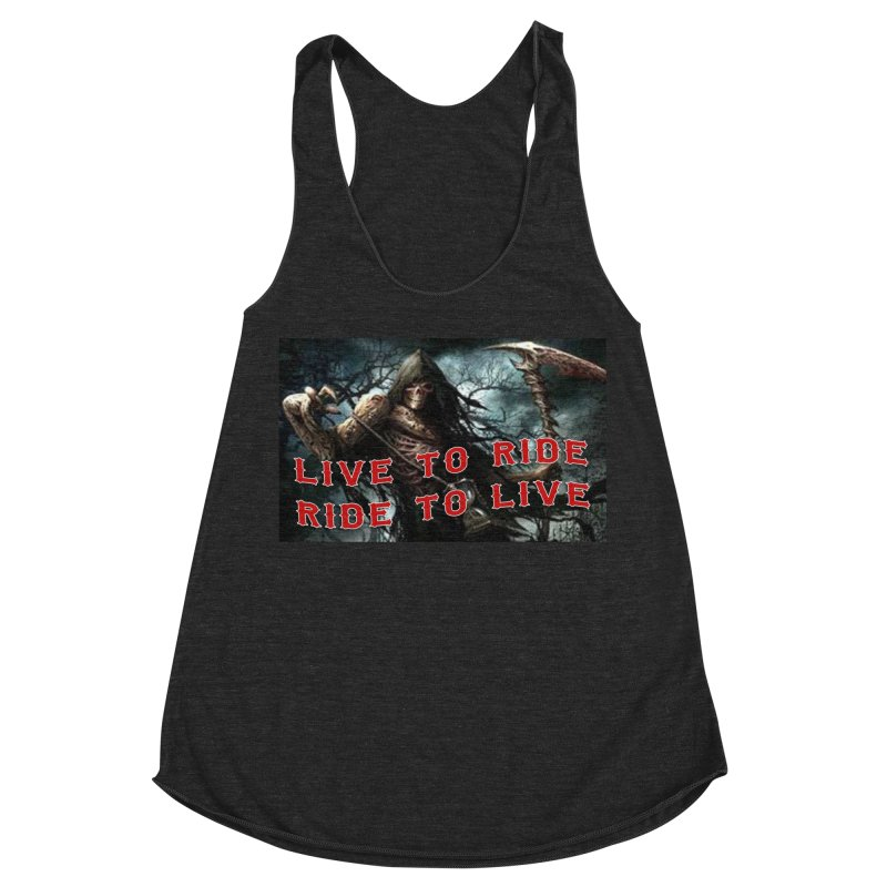 Live to Ride Reaper Women's Racerback Triblend Tank by Vegans Choice Motorcycle Club