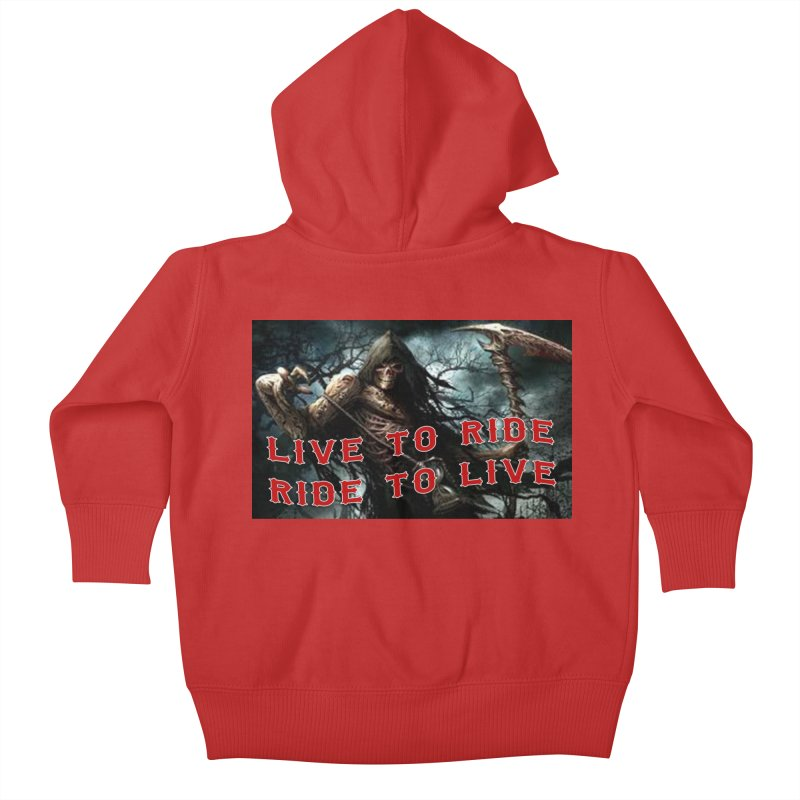 Live to Ride Reaper Kids Baby Zip-Up Hoody by Vegans Choice Motorcycle Club
