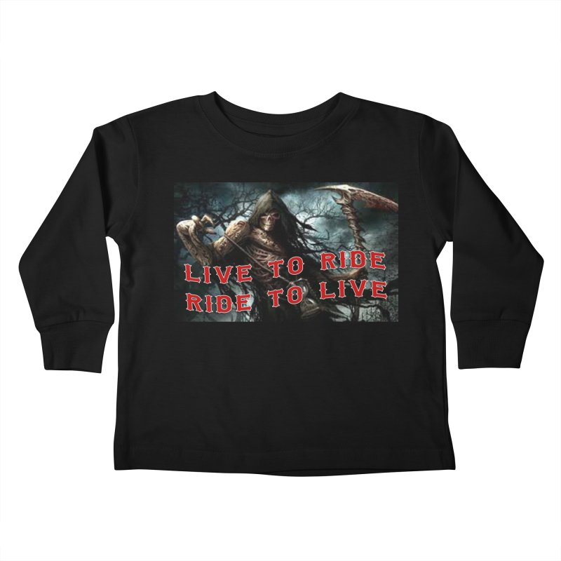 Live to Ride Reaper Kids Toddler Longsleeve T-Shirt by Vegans Choice Motorcycle Club
