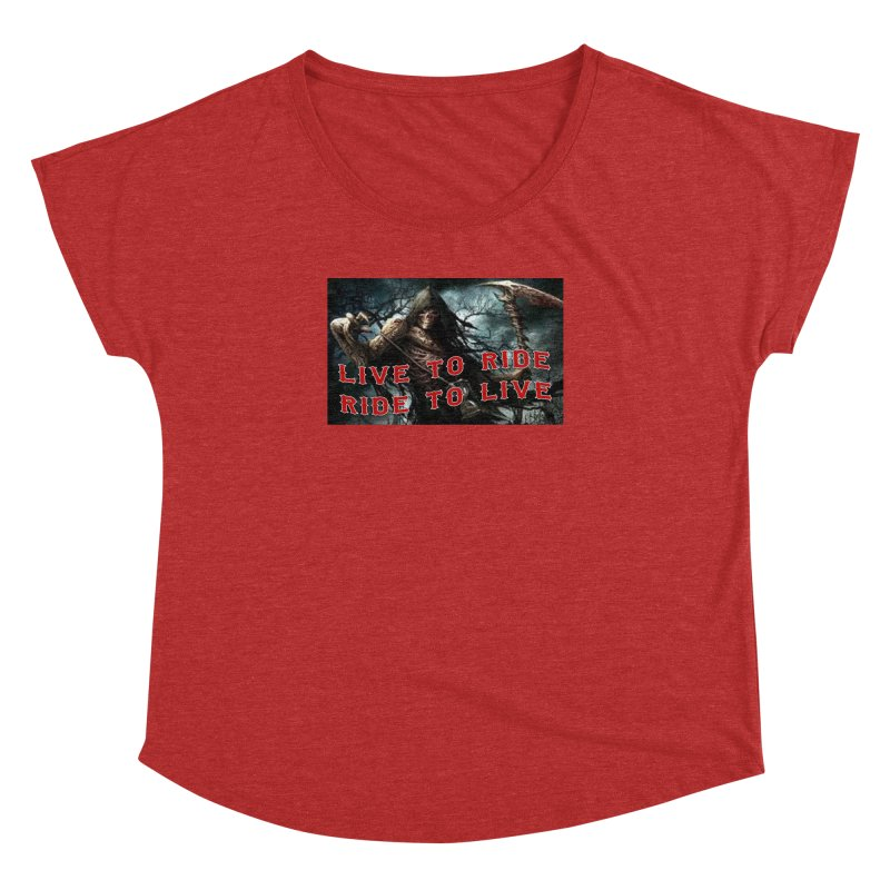 Live to Ride Reaper Women's Dolman Scoop Neck by Vegans Choice Motorcycle Club