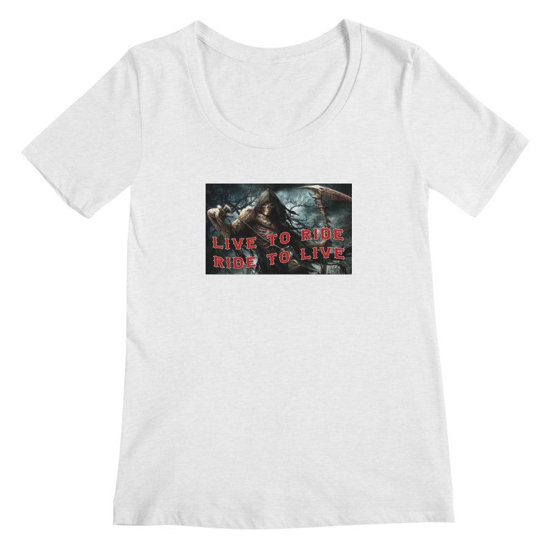 Live to Ride Reaper Women's Regular Scoop Neck by Vegans Choice Motorcycle Club