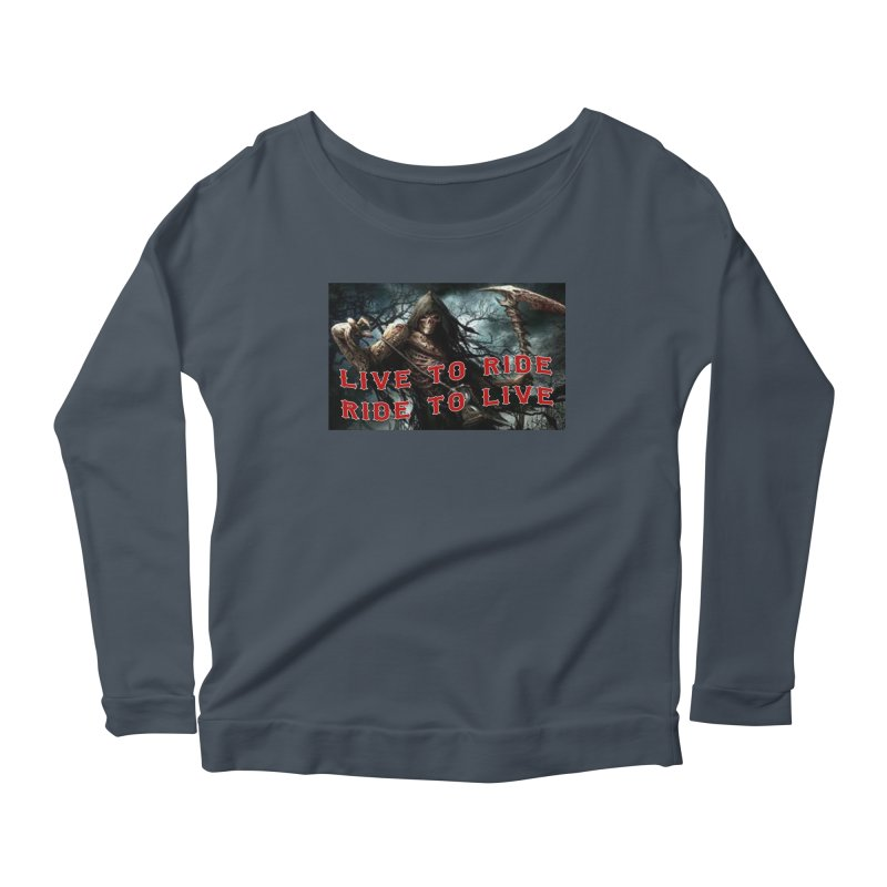 Live to Ride Reaper Women's Scoop Neck Longsleeve T-Shirt by Vegans Choice Motorcycle Club