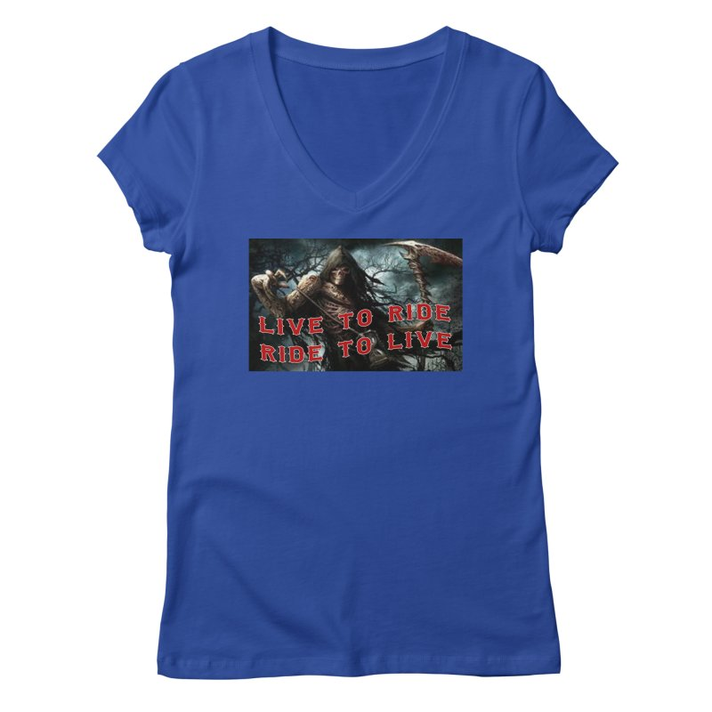 Live to Ride Reaper Women's Regular V-Neck by Vegans Choice Motorcycle Club