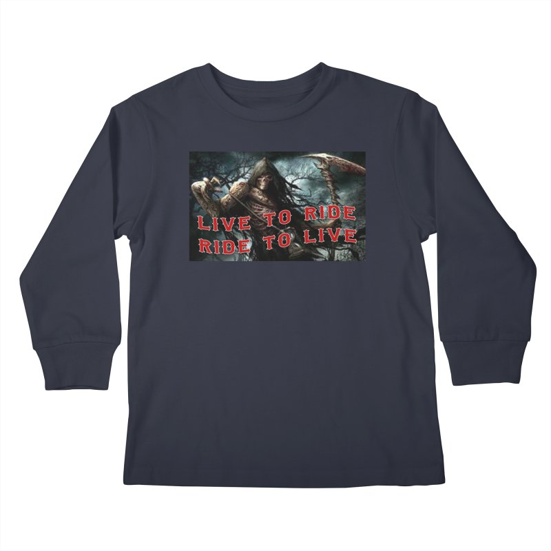 Live to Ride Reaper Kids Longsleeve T-Shirt by Vegans Choice Motorcycle Club