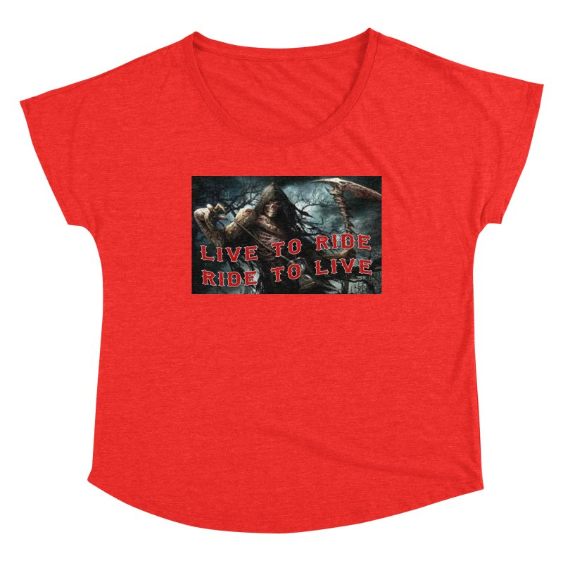 Live to Ride Reaper Women's Scoop Neck by Vegans Choice Motorcycle Club