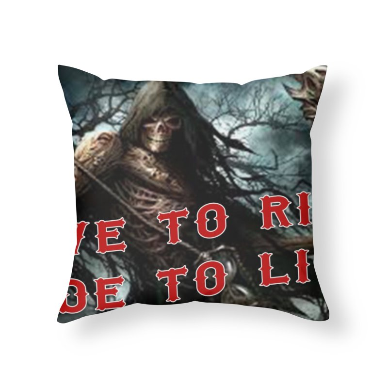 Live to Ride Reaper Home Throw Pillow by Vegans Choice Motorcycle Club
