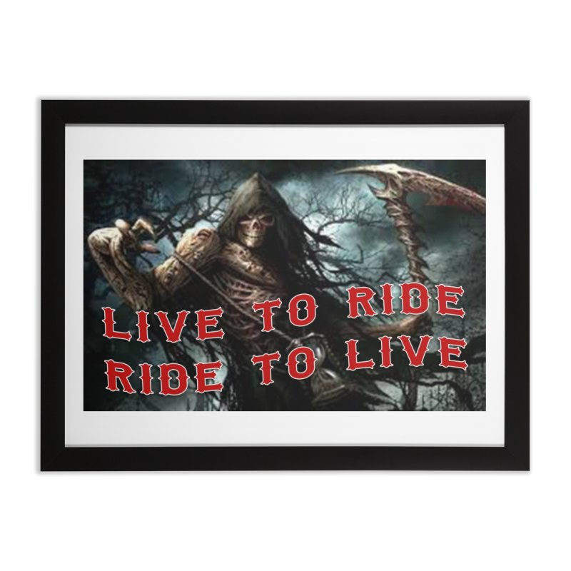Live to Ride Reaper Home Framed Fine Art Print by Vegans Choice Motorcycle Club