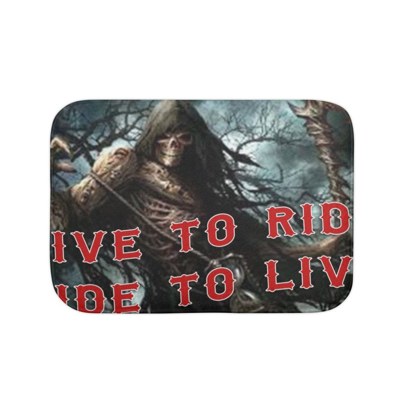 Live to Ride Reaper Home Bath Mat by Vegans Choice Motorcycle Club