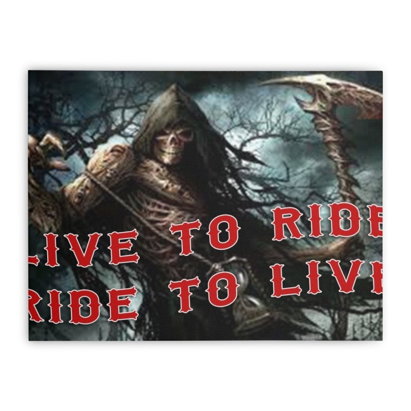 Live to Ride Reaper Home Stretched Canvas by Vegans Choice Motorcycle Club