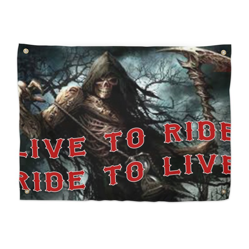 Live to Ride Reaper Home Tapestry by Vegans Choice Motorcycle Club