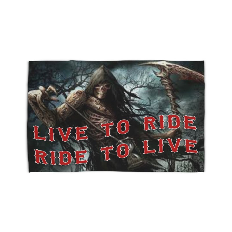 Live to Ride Reaper Home Rug by Vegans Choice Motorcycle Club
