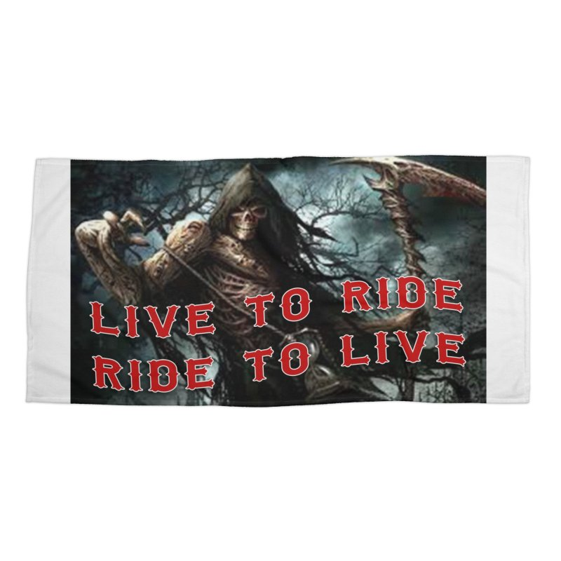 Live to Ride Reaper Accessories Beach Towel by Vegans Choice Motorcycle Club