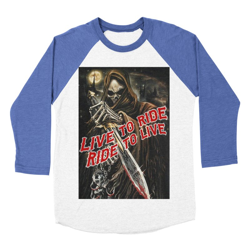 Reaper 2 Women's Baseball Triblend Longsleeve T-Shirt by Vegans Choice Motorcycle Club