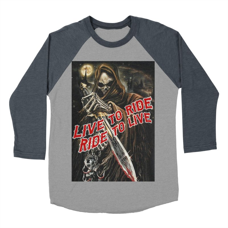 Reaper 2 Men's Baseball Triblend Longsleeve T-Shirt by Vegans Choice Motorcycle Club