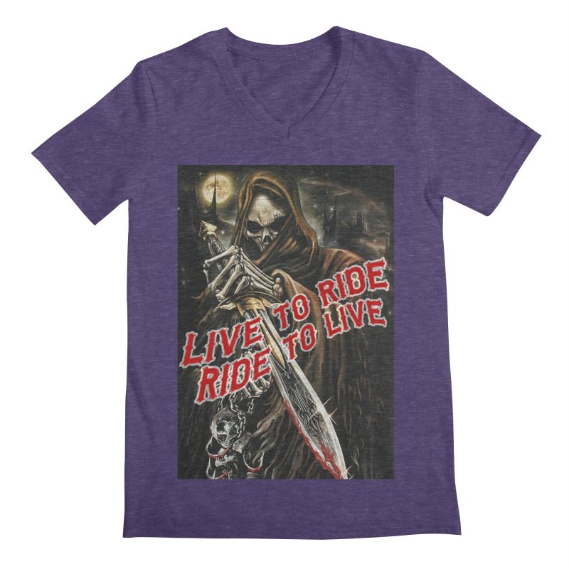 Reaper 2 Men's Regular V-Neck by Vegans Choice Motorcycle Club