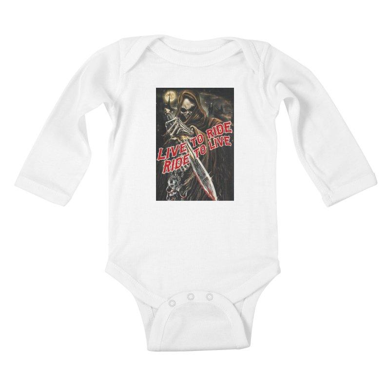 Reaper 2 Kids Baby Longsleeve Bodysuit by Vegans Choice Motorcycle Club