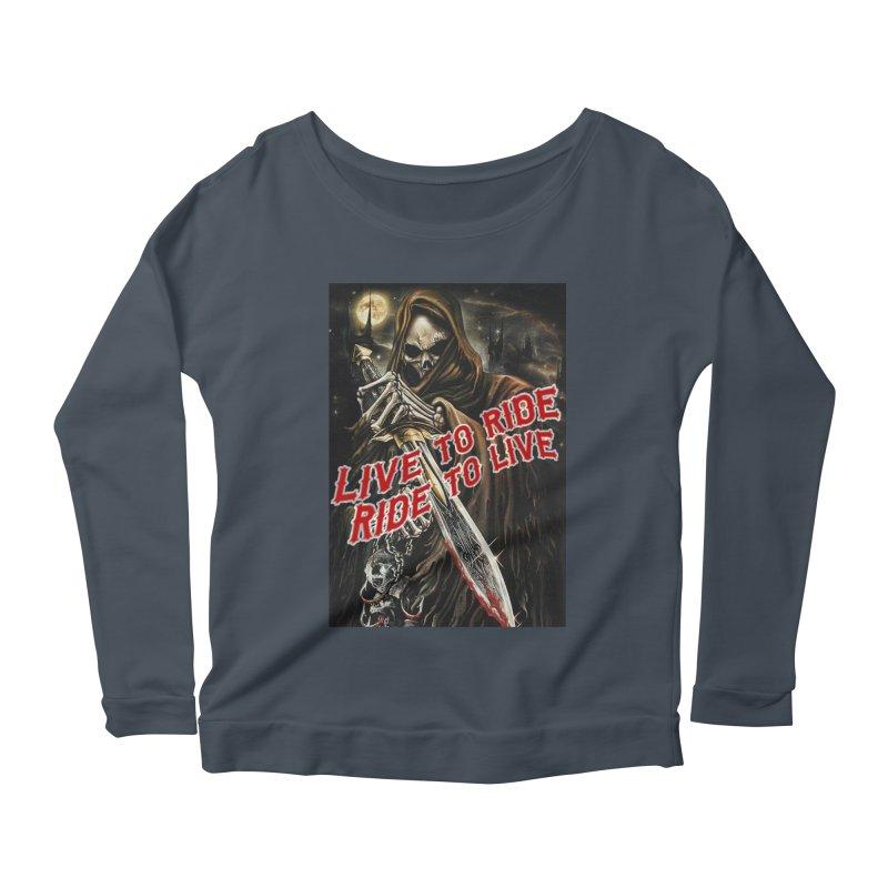 Reaper 2 Women's Scoop Neck Longsleeve T-Shirt by Vegans Choice Motorcycle Club