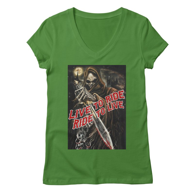 Reaper 2 Women's V-Neck by Vegans Choice Motorcycle Club