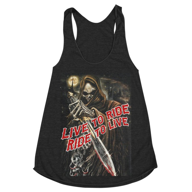 Reaper 2 Women's Racerback Triblend Tank by Vegans Choice Motorcycle Club