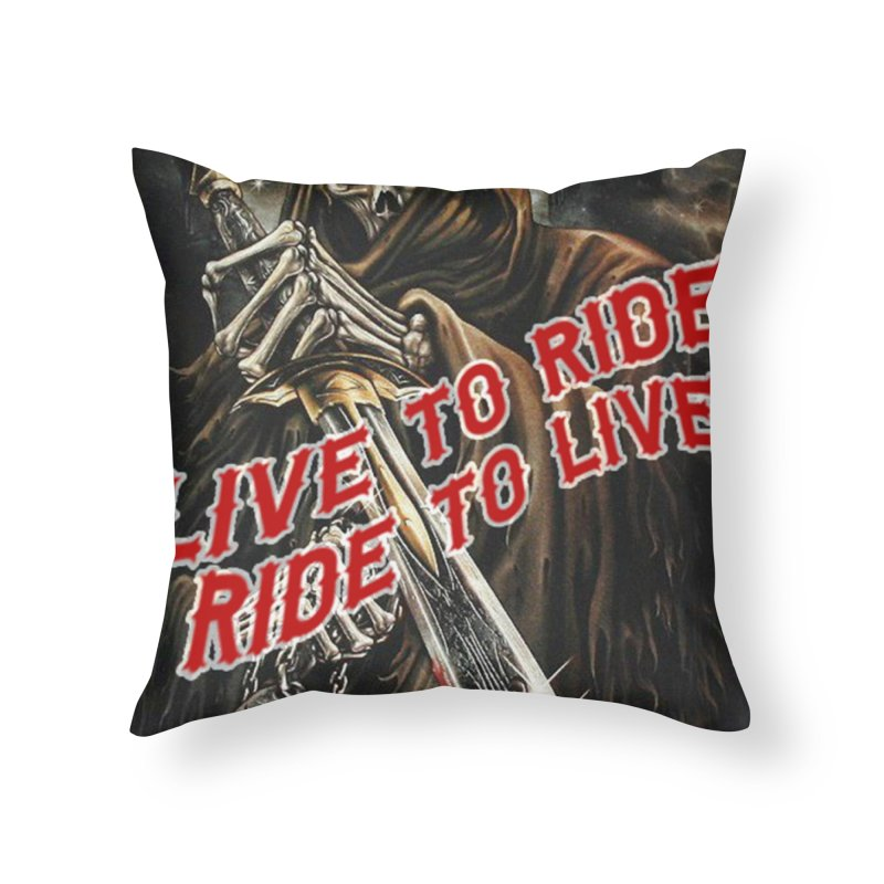 Reaper 2 Home Throw Pillow by Vegans Choice Motorcycle Club