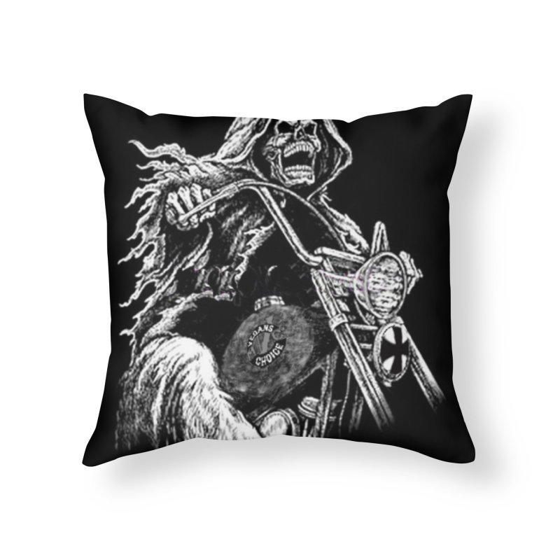 VCMC Skeleton Home Throw Pillow by Vegans Choice Motorcycle Club