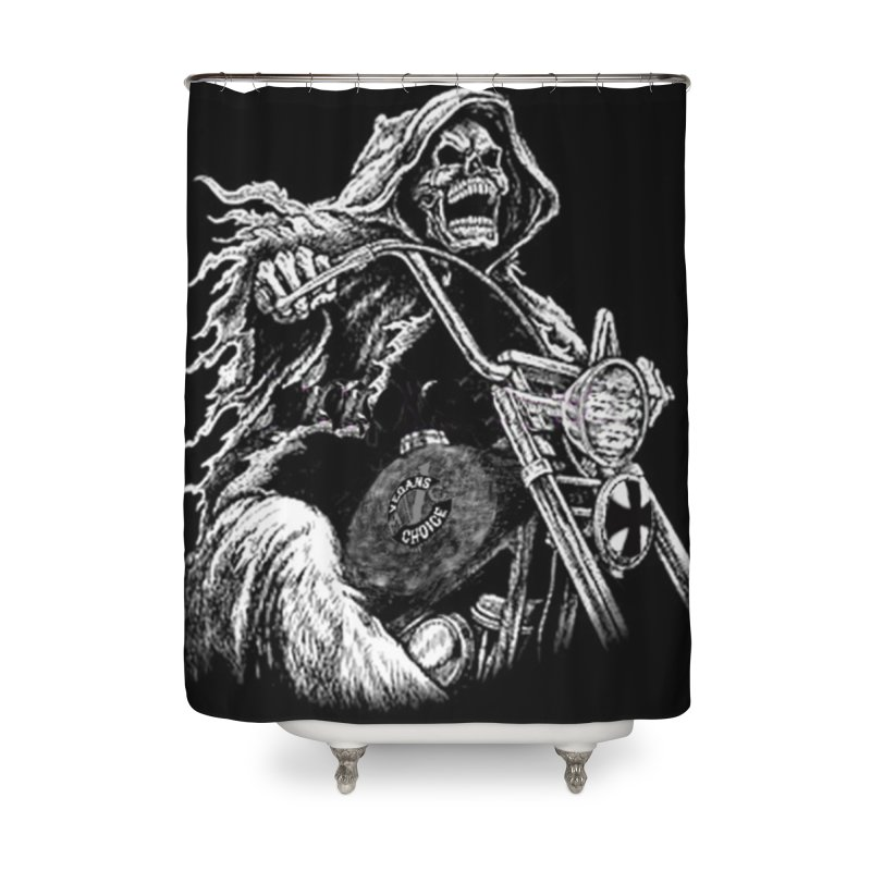 VCMC Skeleton Home Shower Curtain by Vegans Choice Motorcycle Club