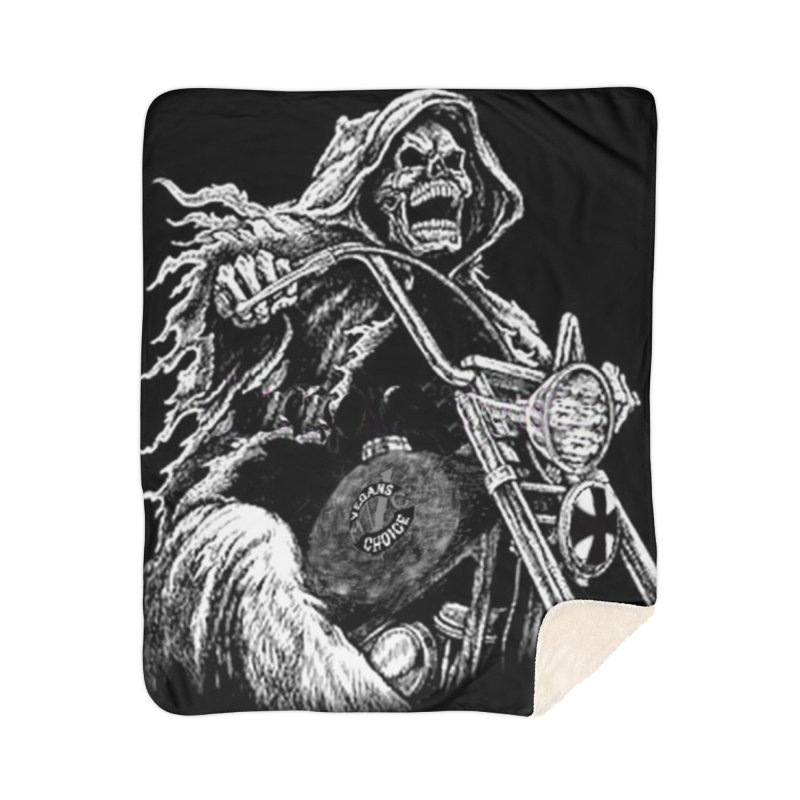 VCMC Skeleton Home Sherpa Blanket Blanket by Vegans Choice Motorcycle Club