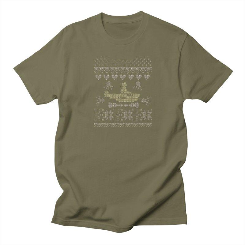Cross stich Christmas Submarine Men's T-shirt by VeraChuckandDave's Artist Shop