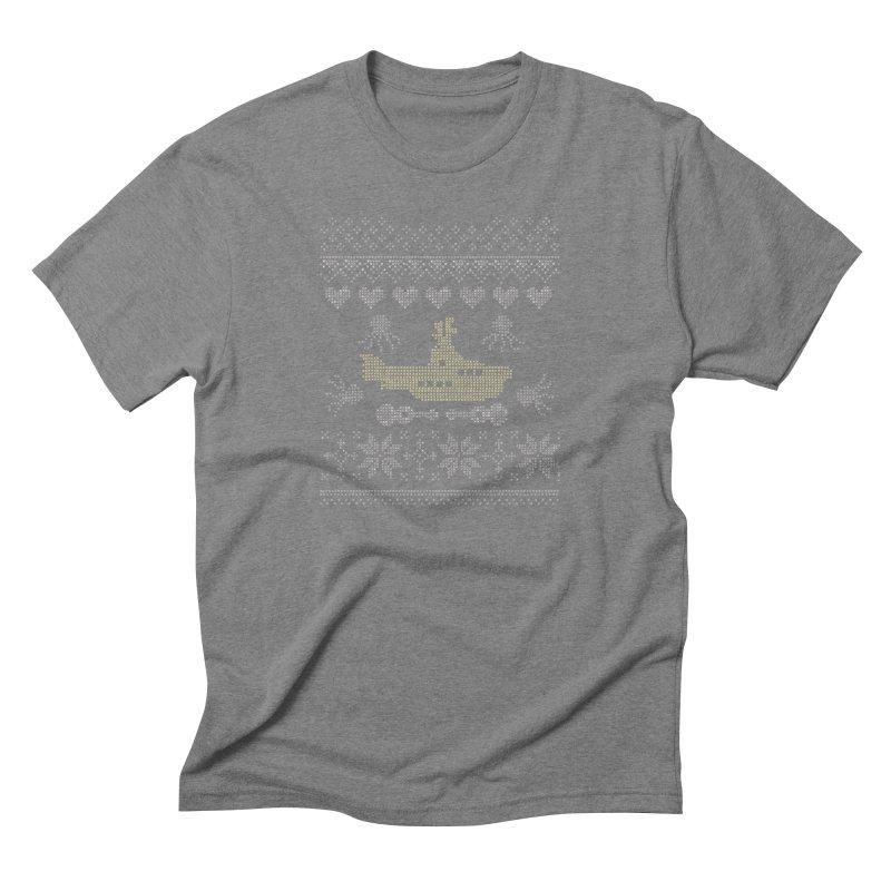 Cross stich Christmas Submarine Men's Triblend T-shirt by VeraChuckandDave's Artist Shop