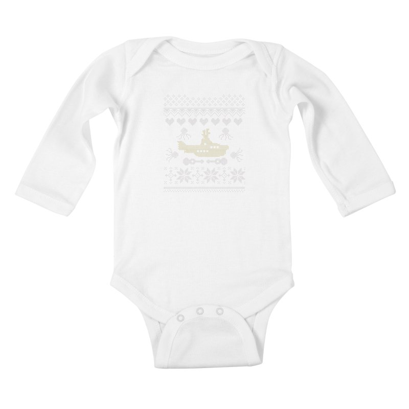 Cross stich Christmas Submarine Kids Baby Longsleeve Bodysuit by VeraChuckandDave's Artist Shop
