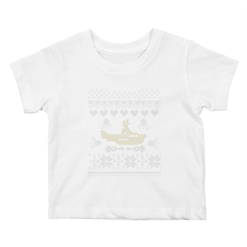 Cross stich Christmas Submarine Kids Baby T-Shirt by VeraChuckandDave's Artist Shop