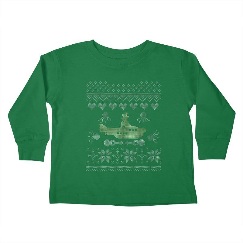 Cross stich Christmas Submarine Kids Toddler Longsleeve T-Shirt by VeraChuckandDave's Artist Shop
