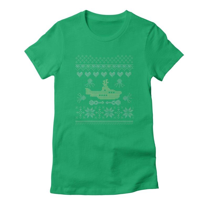 Cross stich Christmas Submarine Women's Fitted T-Shirt by VeraChuckandDave's Artist Shop