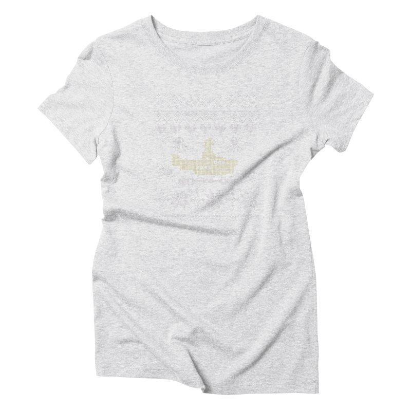 Cross stich Christmas Submarine Women's Triblend T-shirt by VeraChuckandDave's Artist Shop