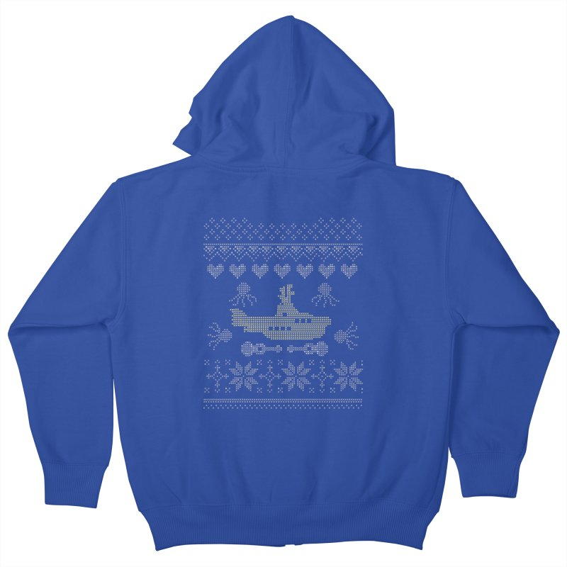 Cross stich Christmas Submarine Kids Zip-Up Hoody by VeraChuckandDave's Artist Shop