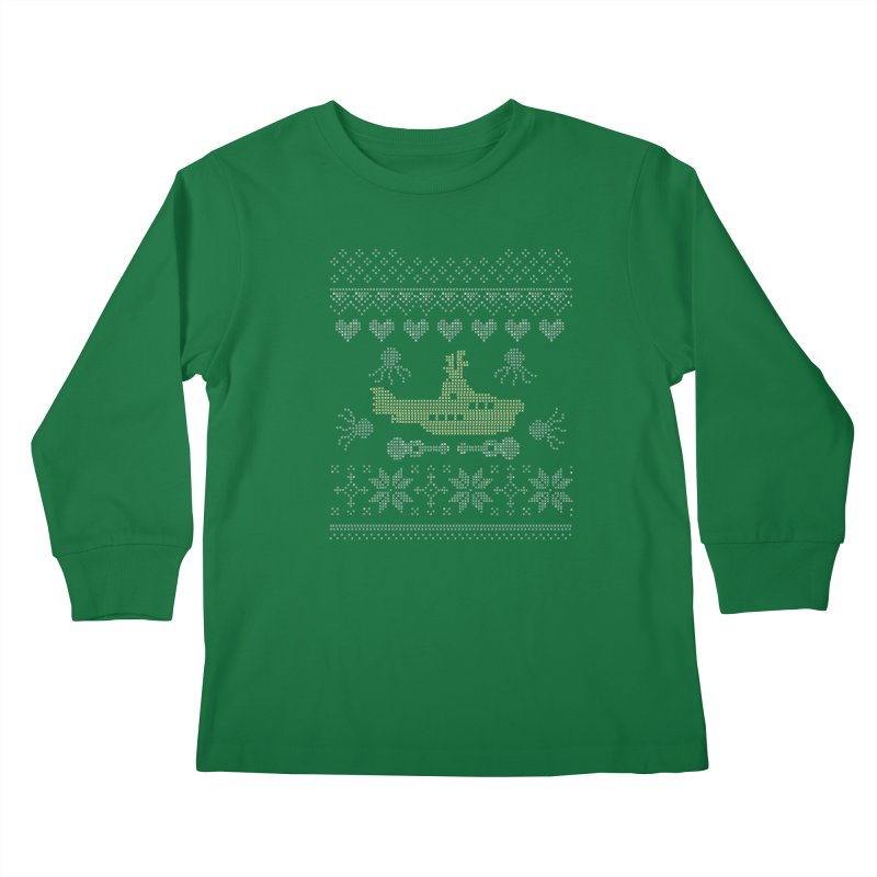 Cross stich Christmas Submarine Kids Longsleeve T-Shirt by VeraChuckandDave's Artist Shop