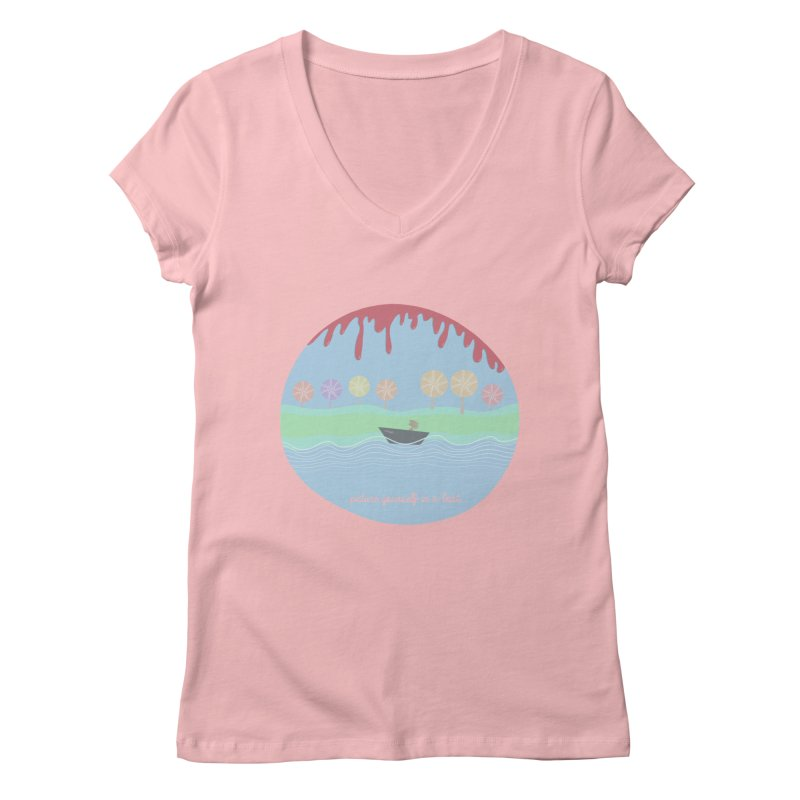 Picture yourself in a boat... Women's V-Neck by VeraChuckandDave's Artist Shop