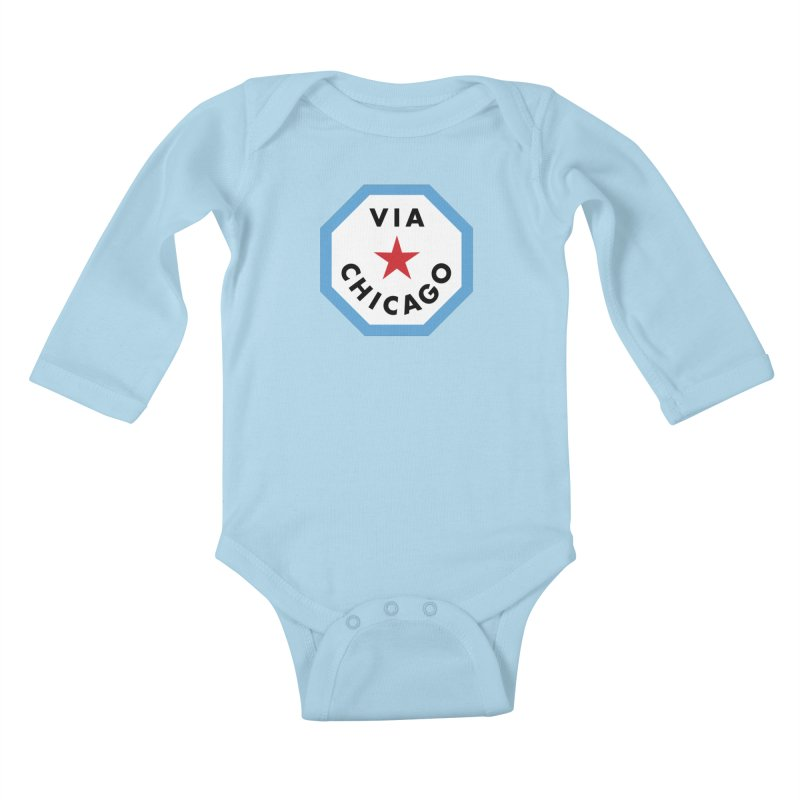 Via Chicago Badge Kids Baby Longsleeve Bodysuit by Via Chicago's March Shop