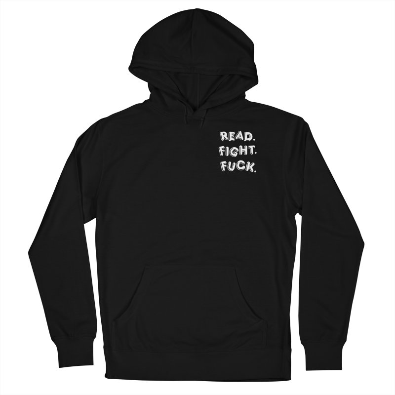 Read Fight Fuck (white) in Women's French Terry Pullover Hoody Black by Vice Versa Press