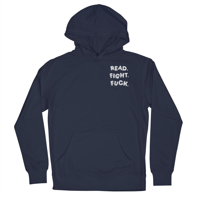 Read Fight Fuck (white) in Men's French Terry Pullover Hoody Navy by Vice Versa Press
