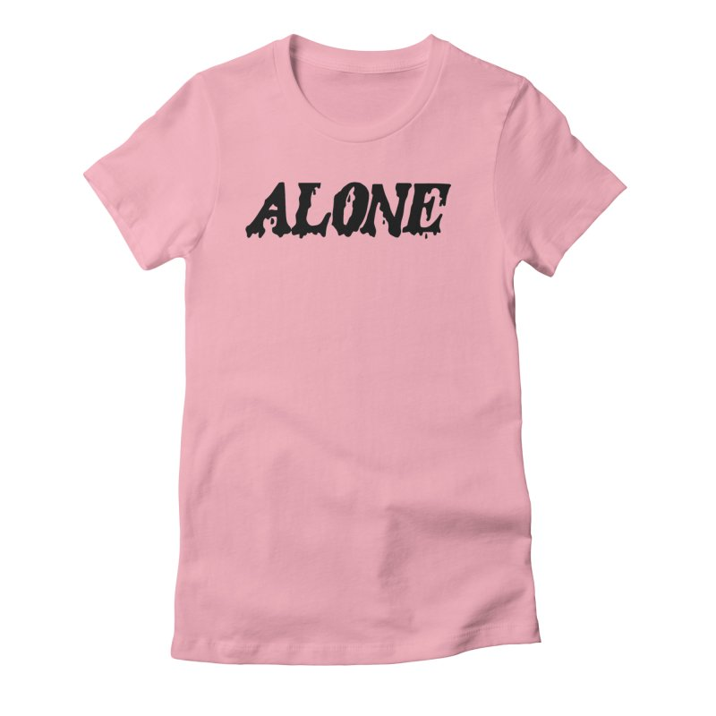 Alone in Women's Fitted T-Shirt Light Pink by Vice Versa Press