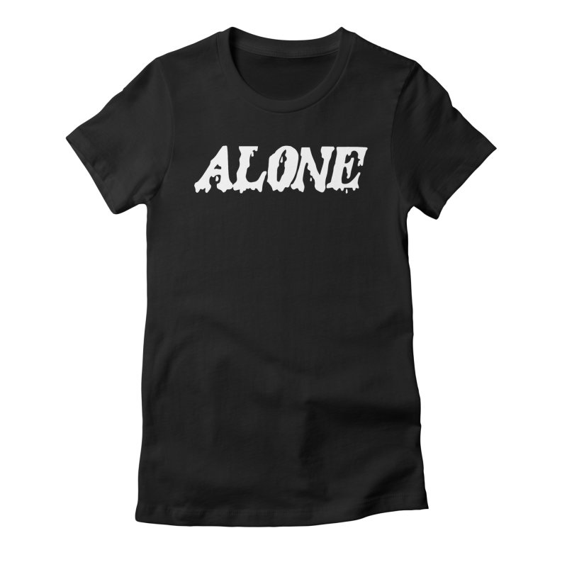 Alone (white) Women's Fitted T-Shirt by Vice Versa Press