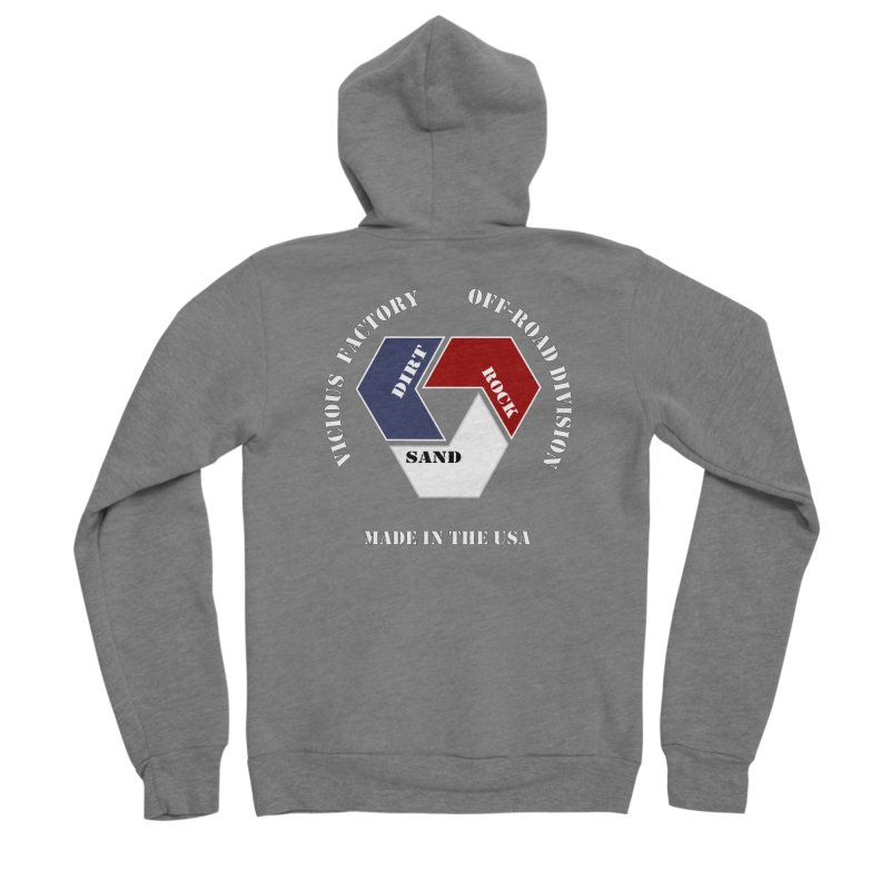 VICIOUS FACTORY OFF-ROAD  MADE IN THE USA Men's Sponge Fleece Zip-Up Hoody by Vicious Factory